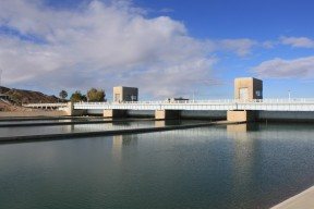 Imperial Dam, built in 1928, was authorized by the same legislative package that built Hoover Dam. The main function of the dam is to divert water into the All-American Canal, the Coachella Canal, the Gila Gravity Canal and the Yuma Project.