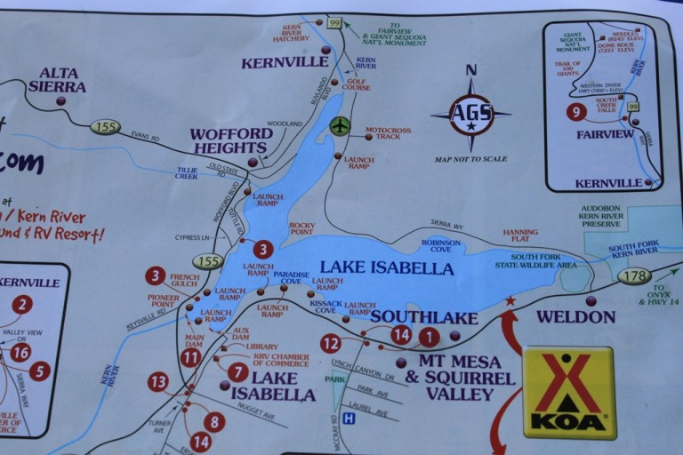 Lake Isabella KOA map June 2012