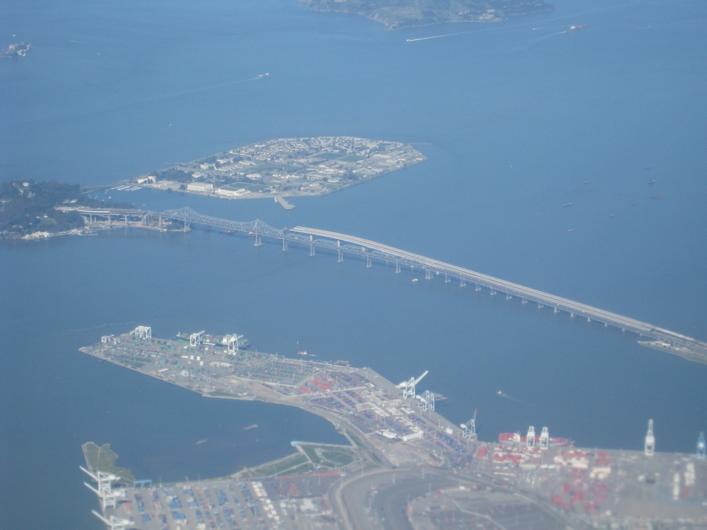 Bay Bridge under construction aerial Mar 2009
